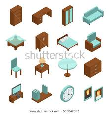 isometric office furniture vector collection. Home Interior Isometric Icons Set. Collection Of High Quality Pictograms Furniture For Web Design Office Vector