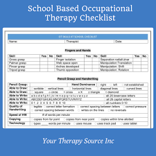 Checklist For School School Based Occupational Therapy Screening Form Checklist Your