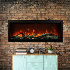 amantii symmetry series extra tall 50 inch built in electric fireplace with black steel surround driftwood logs indoor outdoor sym 50 xt gas log