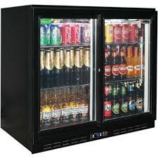 rhino glass 2 sliding door back bar fridge