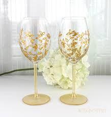 Wine Glasses Wedding Glasses Gold Toasting Glasses Gold