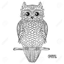 Owl Design Zentangle Hand Drawn Owl With Abstract Patterns On Isolation Background Design For Spiritual Relaxation For Adults Black And White