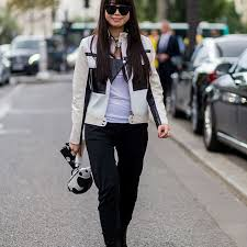 street style jeans and white leather jacket