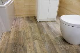 karndean wood effect luxury vinyl flooring in a bathroom display at uk tiles direct in wareham