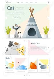 Infographic Website Template Animal Website Template Banner And Infographic With Cat Vector