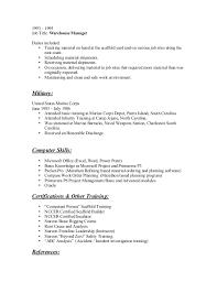 Warehouse resume entry level