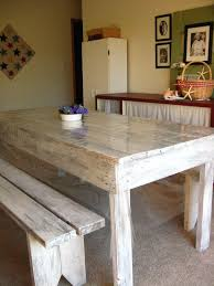 white washing furniture. Furniture. Long Cream Wooden Table With Bench Placed On The Brown Floor White Washing Furniture