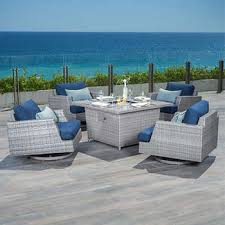 fire pit table with chairs. Portofino Comfort™ Laguna Blue 5-piece Motion Club Chair And Fire Pit Table Set With Chairs