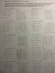 graphing quadratics review answers