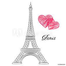 Fotografie Obraz Sketch Of Paris Eiffel Tower With Hearts Vector