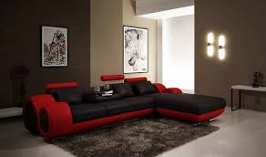 vig divani casa 4085 modern leather sectional sofa in black red