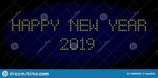 Happy New Year 2019 Led Style Caption With Glowing Dots Stock Vector