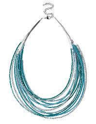 aqua seed bead necklace rhodium aqua cool water hi res
