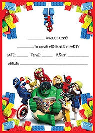 superheroes birthday party invitations marvel lego heroes birthday party invites invitations x 10 pack