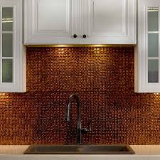 classic kitchen decor with frenzy pressed copper tile