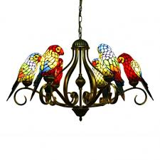 3 6 light multicolored parrot tiffany stained glass chandelier in shabby chic style