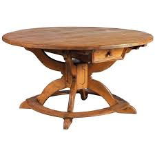 large round alpine early 19th century pine table for