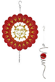 upblend outdoors hanging metal 3d wind spinner in sunrise red with helix tail
