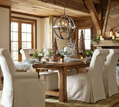 Pottery Barn Kitchen Curtains Pottery Barn Dining Room Table White Chairs Pads Wooden Legs