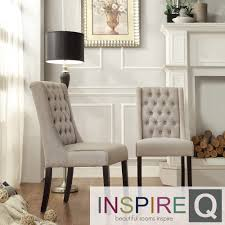 INSPIRE Q Evelyn Oatmeal Linen Tufted Back Hostess Chairs (Set of 2) by  iNSPIRE Q