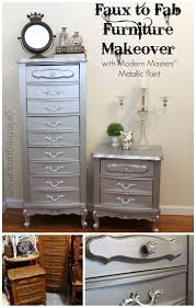 cool diy furniture set. Faux To Fab Metallic Furniture Makeover With Modern Masters Paint Cool Diy Set L