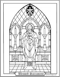 Communion Activity Pages Blessed Sacrament Coloring Page Catholic