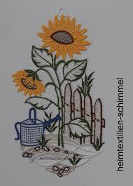 Plauener Spitze Fensterbild Sommeridylle Fensterdeko Sonnenblumen