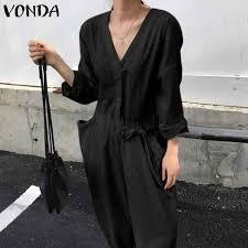VONDA Rompers <b>Womens Jumpsuit</b> 2019 Sexy <b>V Neck</b> Long ...