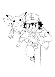 Small Picture Ash and Pikachu coloring page Ash and Pikachu Pinterest