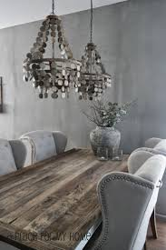 murano due lighting living room dinning. Stunning Dining Room Features Silver Gray Wall Color Alongside A Reclaimed Wood Table Lined With Wingback Tufted Chairs Accented Murano Due Lighting Living Dinning E