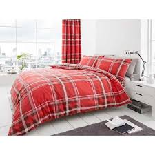 newton tartan single duvet cover set red