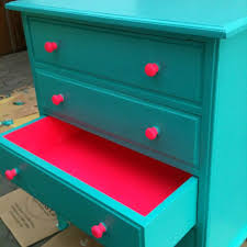 neon paint colors for bedrooms. turquoise dresser with neon pink accents - paint contrasting colors for bedrooms e