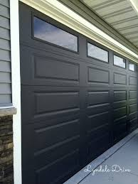 close up black garage door