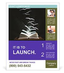 Flyer Template For Pages Flying Book Pages Poster Template