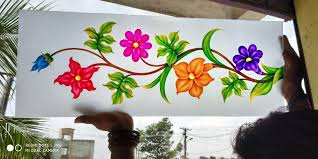 Flower Design Glass Door Glasss In 2020 Glass Painting Designs Stained Glass Art