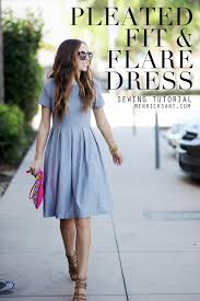 diy friday pleated fit flare dress tutorial