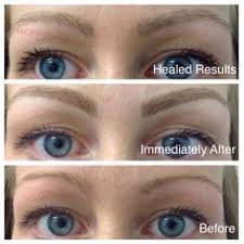 eyebrow microblading blonde hair. this is what a blond eyebrow hairstroke treatment looks like immediately after the procedure, and microblading blonde hair -