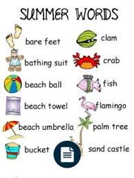 Summer Word List Summer Word List Summer Words Words Cool Words