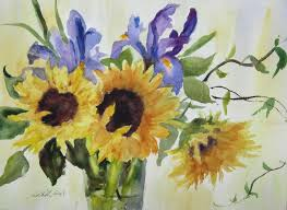 painting flowers in watercolor sunflowers and irises