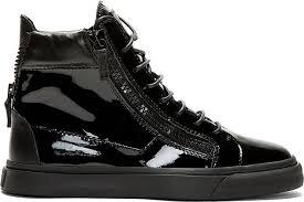 giuseppe zanotti black patent leather high top sneakers