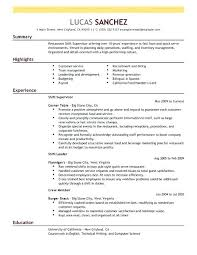 sample resume for food and beverage supervisor resume example ...