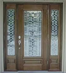 hardwood door and bevel stained glass front entry door with side panels front door custom doors leaded glass hardwood door bevel