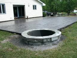stamped concrete patio with square fire pit. Concrete Stamped Patio With Square Fire Pit T
