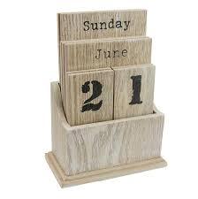 natural wood desktop perpetual calendar block by gisela graham