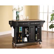 Stainless Top Kitchen Table Crosley Black Kitchen Cart With Stainless Steel Top Kf30002ebk