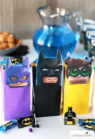 the lego batman party treat bags free printable lego minifigures for diy birthday party