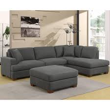 erin 3 piece grey fabric sectional sofa with 2 accent pillows right facing