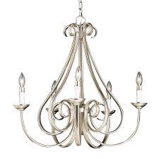 kichler dover 25 5 in 5 light brushed nickel vintage hardwired candle chandelier