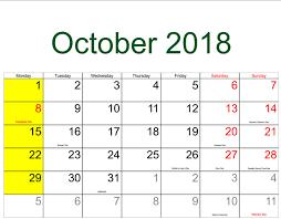 October 2018 Calendar For Usa Free Download