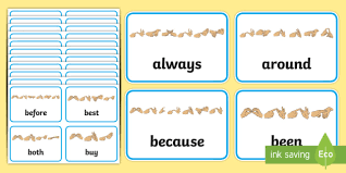 Second Grade Dolch List Sight Words With Fingerspelling
